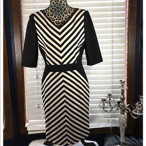 Tahari Black & White Striped Dress size 6